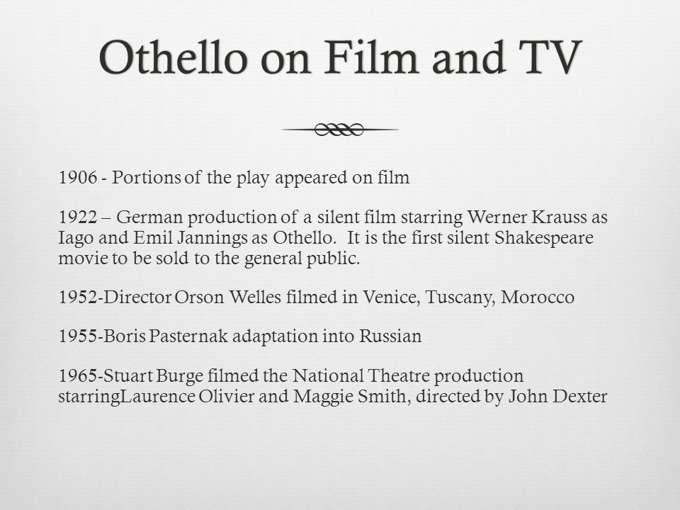 Othello on Film and TV