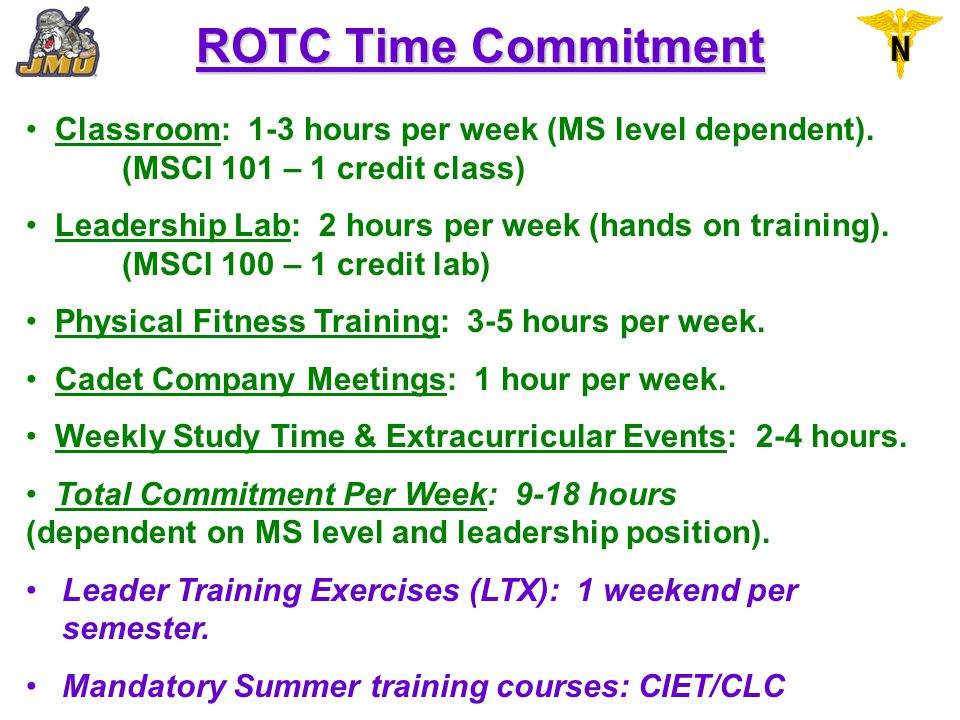 ROTC Time Commitment Classroom: 1-3 hours per week (MS level dependent). (MSCI 101 – 1 credit class)