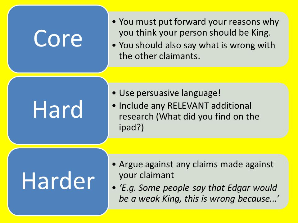 Core You must put forward your reasons why you think your person should be King. You should also say what is wrong with the other claimants.