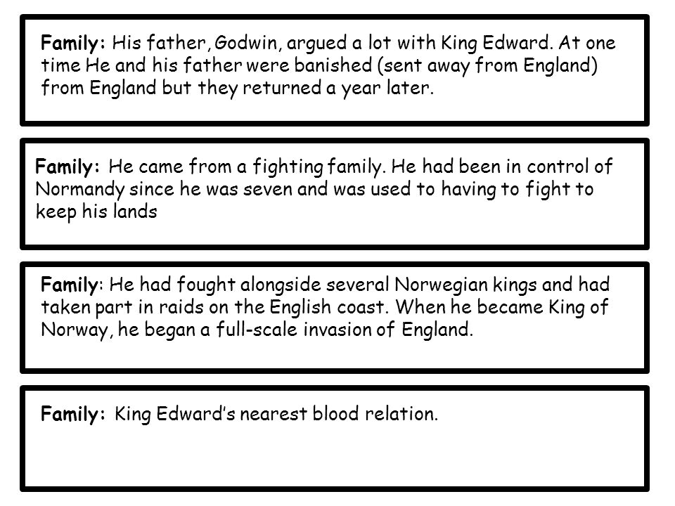 Family: His father, Godwin, argued a lot with King Edward