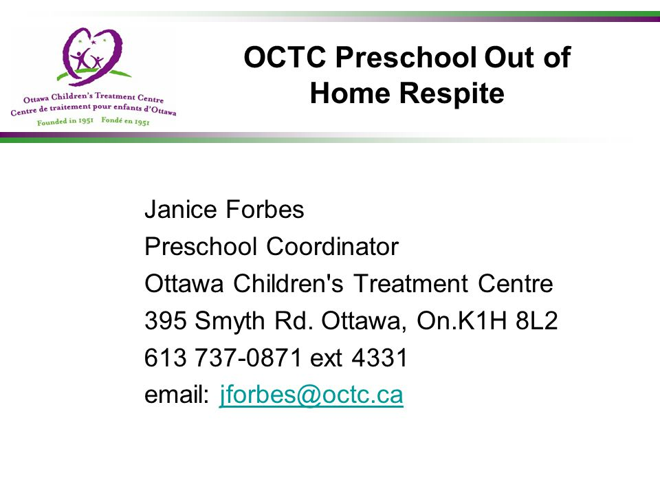 OCTC Preschool Out of Home Respite
