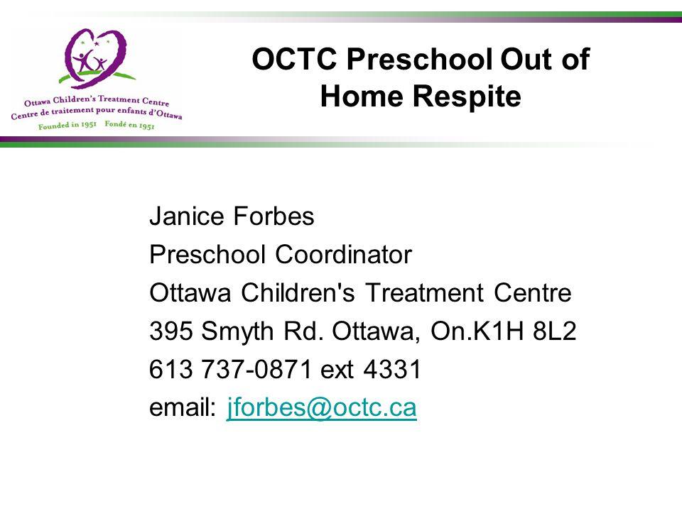 OCTC Preschool Out of Home Respite