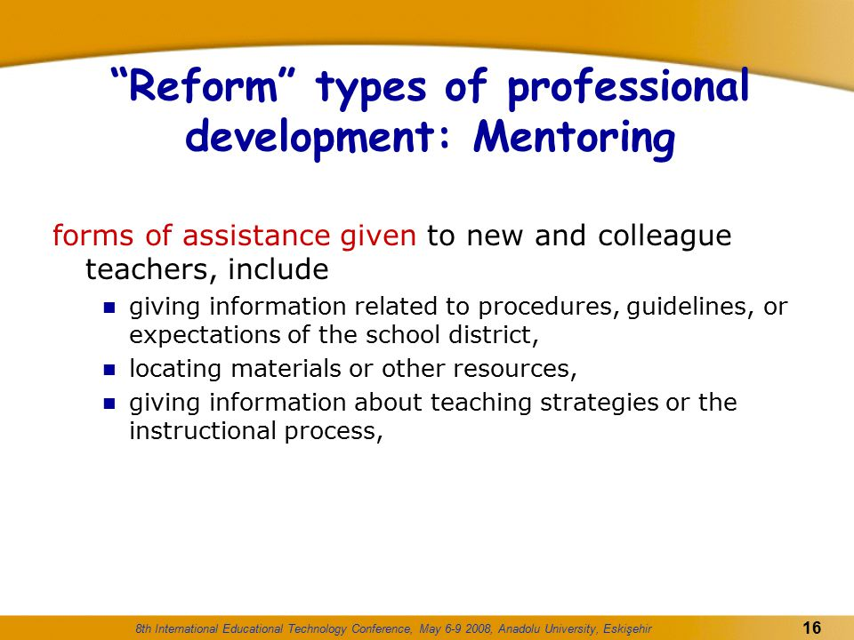 Reform types of professional development: Mentoring