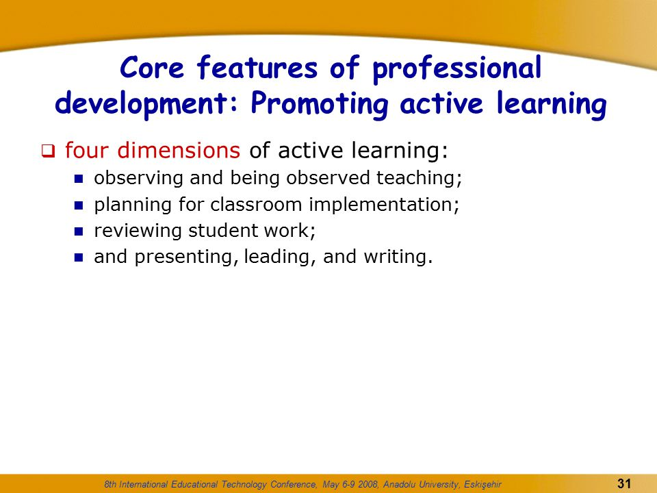 Core features of professional development: Promoting active learning