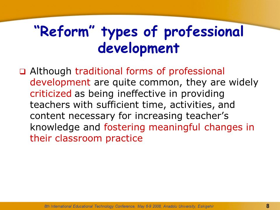Reform types of professional development