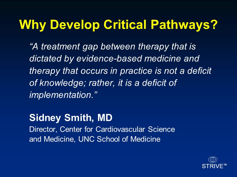 Why Develop Critical Pathways