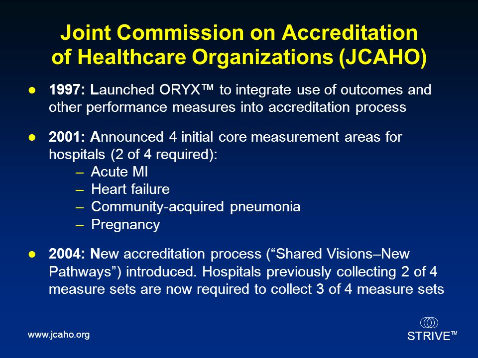Joint Commission on Accreditation of Healthcare Organizations (JCAHO)
