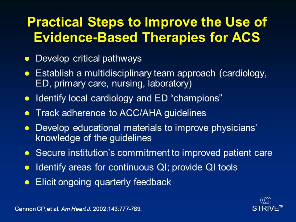 Practical Steps to Improve the Use of Evidence-Based Therapies for ACS