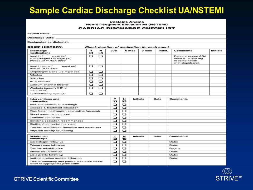 Sample Cardiac Discharge Checklist UA/NSTEMI