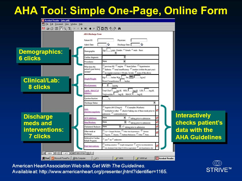 AHA Tool: Simple One-Page, Online Form
