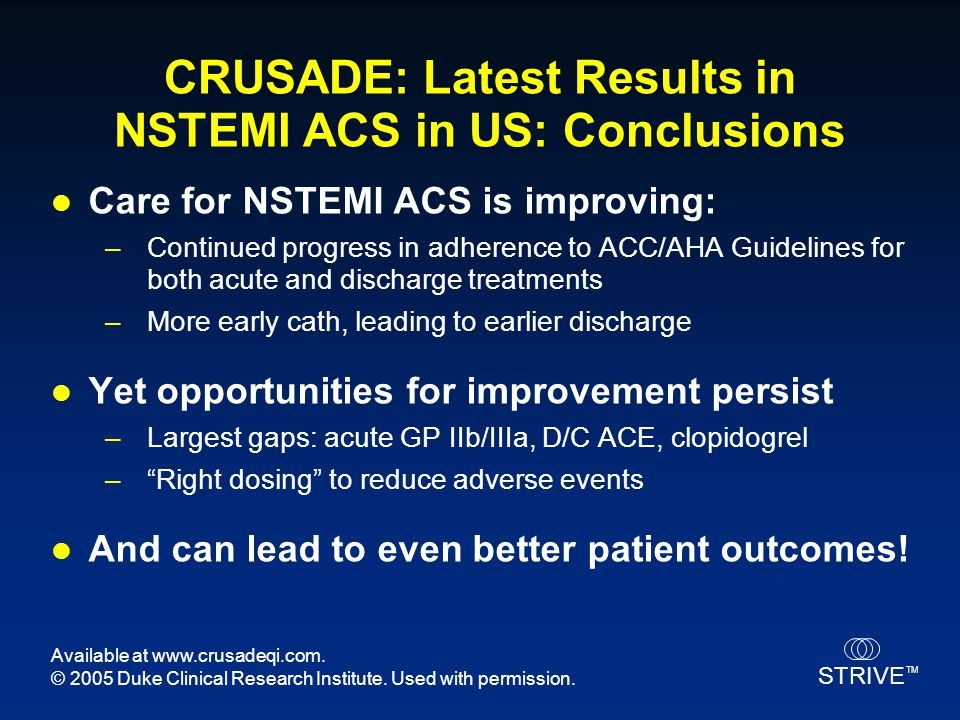 CRUSADE: Latest Results in NSTEMI ACS in US: Conclusions