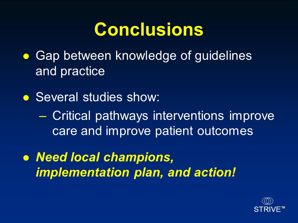Conclusions Gap between knowledge of guidelines and practice