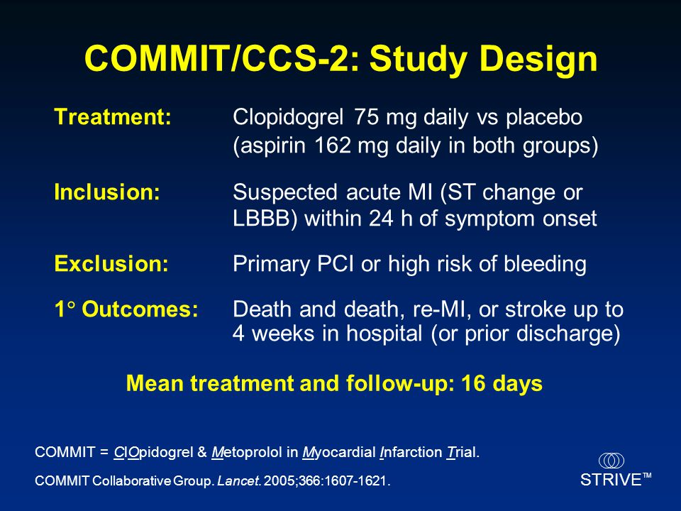 COMMIT/CCS-2: Study Design Mean treatment and follow-up: 16 days