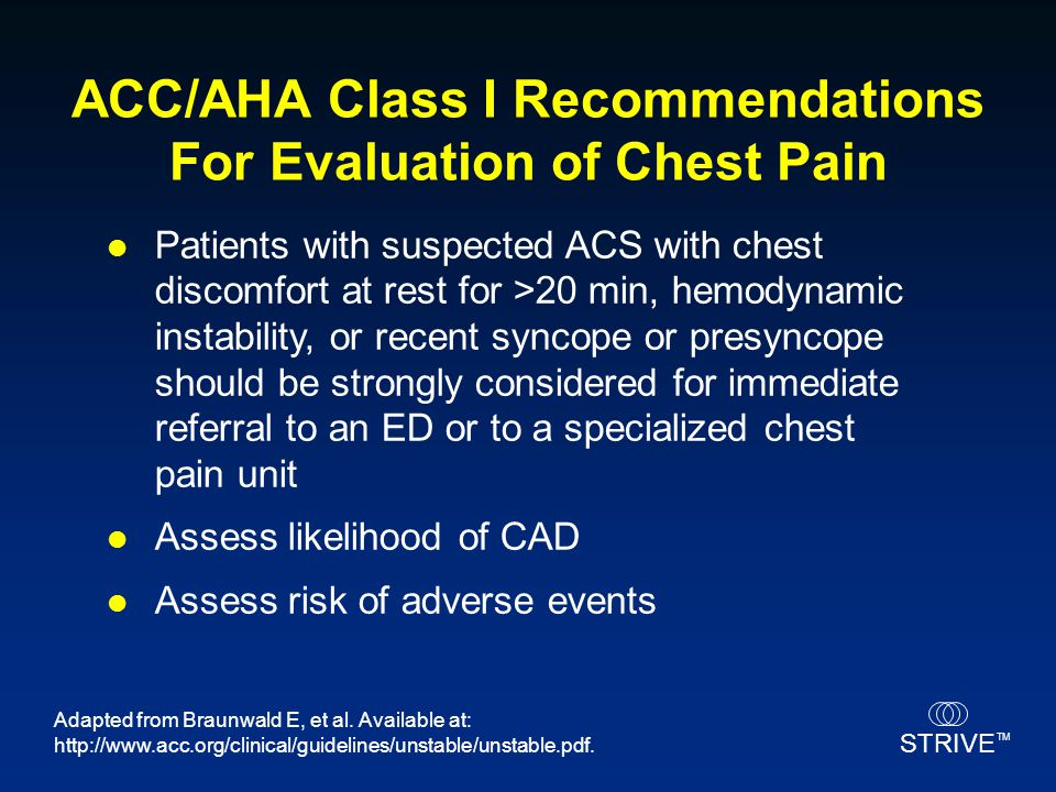 ACC/AHA Class I Recommendations For Evaluation of Chest Pain
