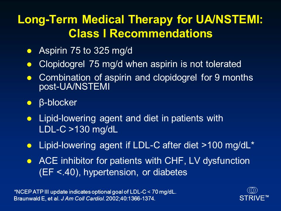 Long-Term Medical Therapy for UA/NSTEMI: Class I Recommendations