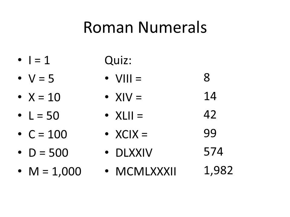 Roman Numerals I = 1 V = 5 X = 10 L = 50 C = 100 D = 500 M = 1,000