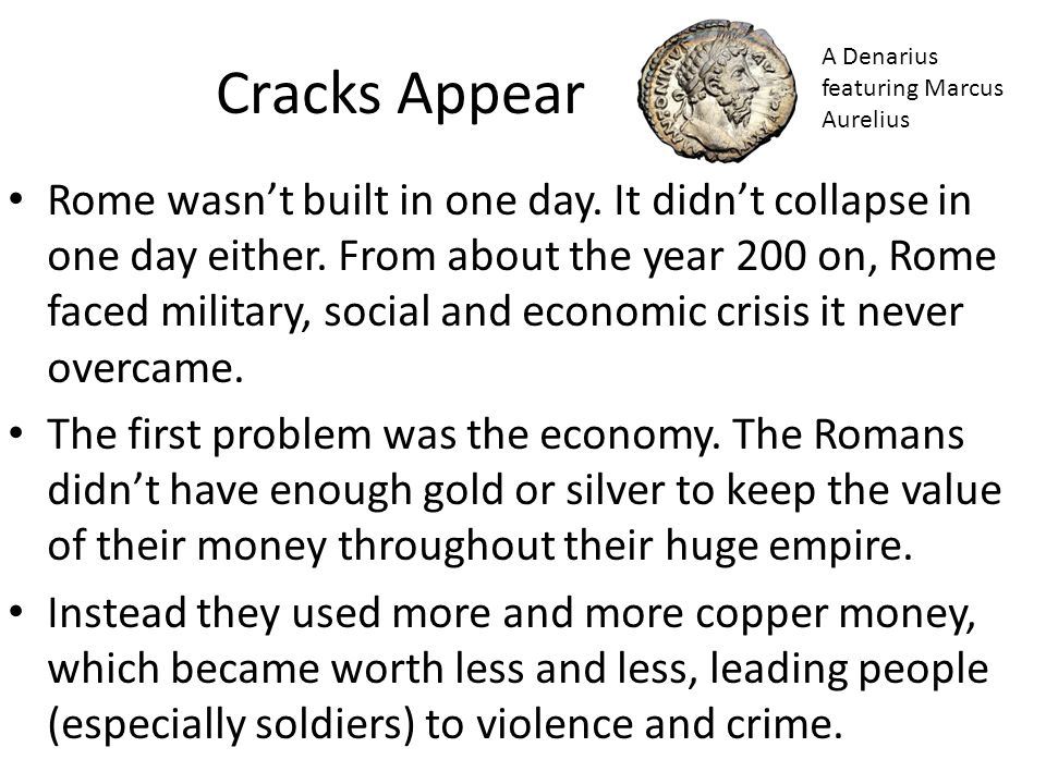 Cracks Appear A Denarius featuring Marcus Aurelius.