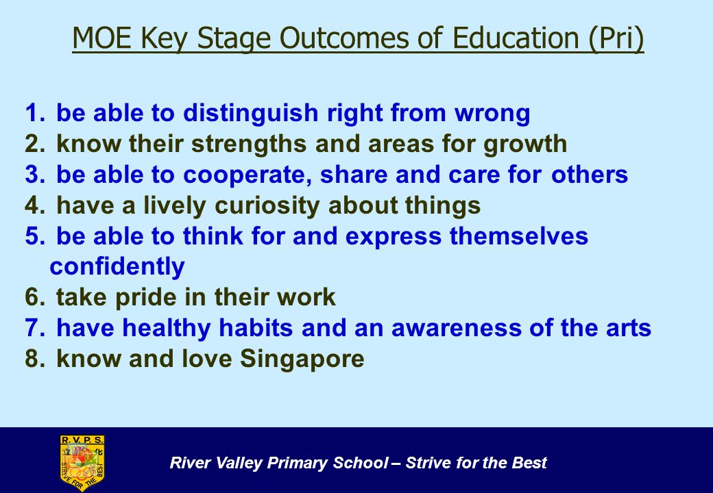 MOE Key Stage Outcomes of Education (Pri)