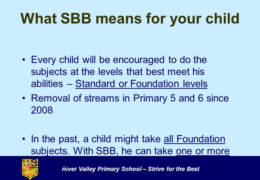 What SBB means for your child