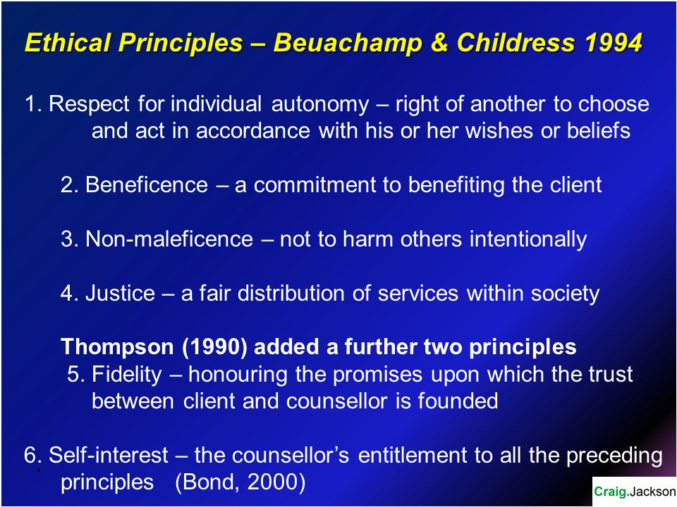 Ethical Principles – Beuachamp & Childress 1994