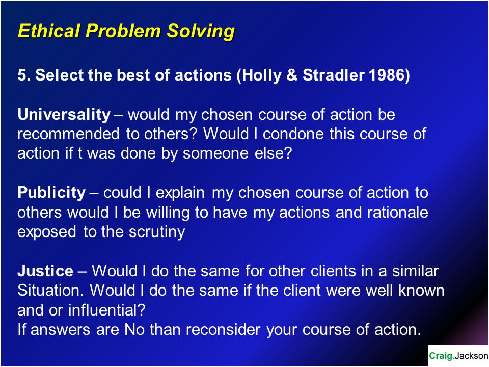 Ethical Problem Solving