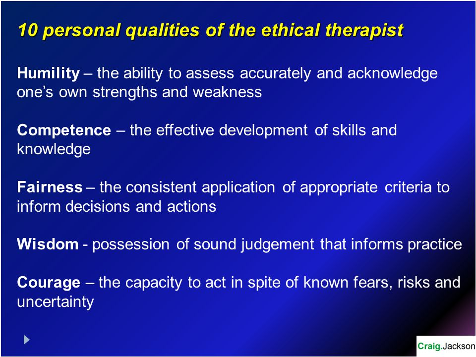 10 personal qualities of the ethical therapist