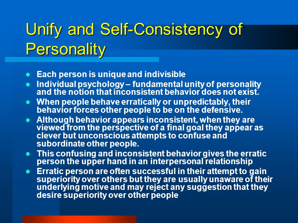Unify and Self-Consistency of Personality