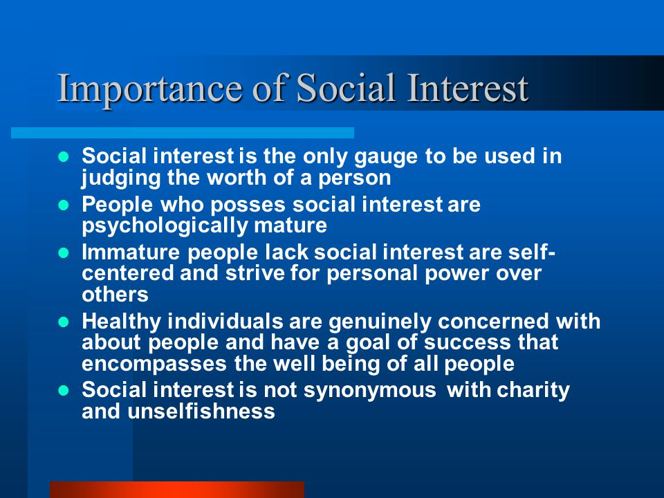 Importance of Social Interest