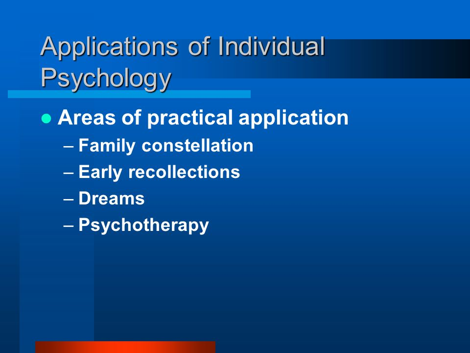 Applications of Individual Psychology