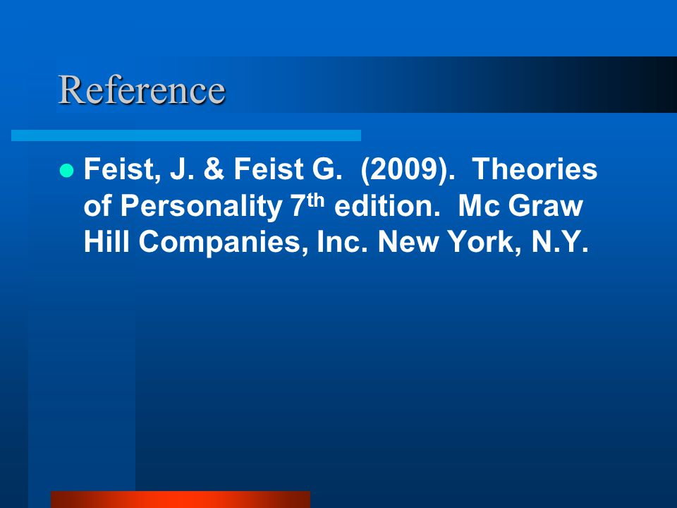 Reference Feist, J. & Feist G. (2009). Theories of Personality 7th edition.