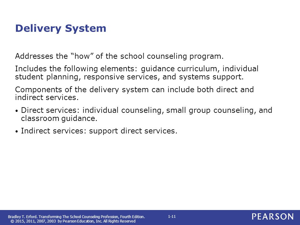 Delivery System Addresses the how of the school counseling program.