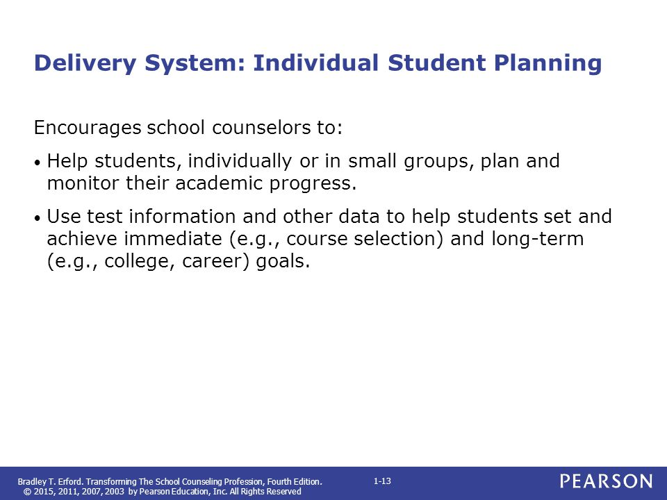 Delivery System: Individual Student Planning