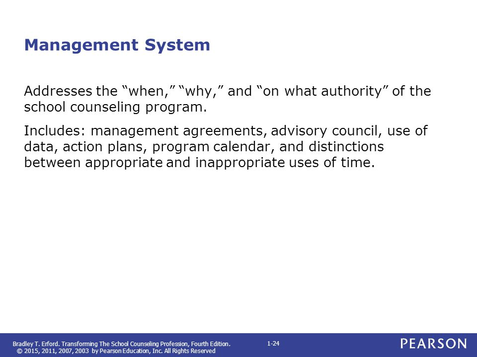 Management System Addresses the when, why, and on what authority of the school counseling program.