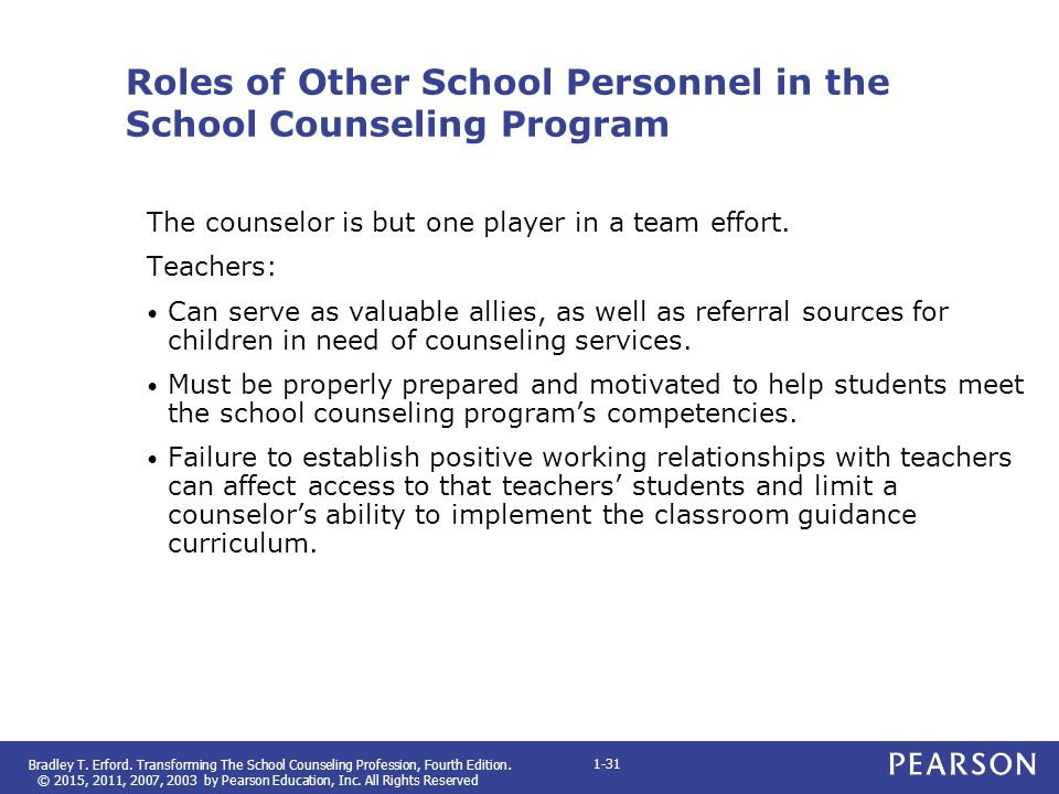 Roles of Other School Personnel in the School Counseling Program
