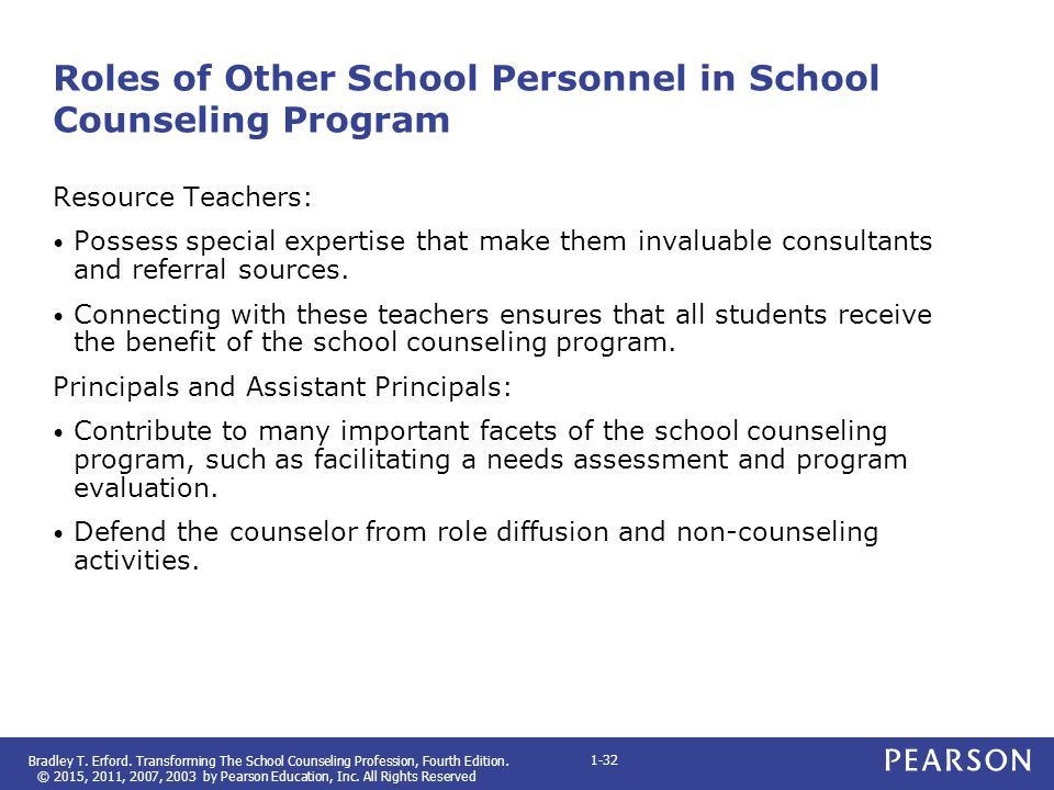 Roles of Other School Personnel in School Counseling Program