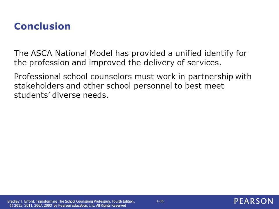 Conclusion The ASCA National Model has provided a unified identify for the profession and improved the delivery of services.