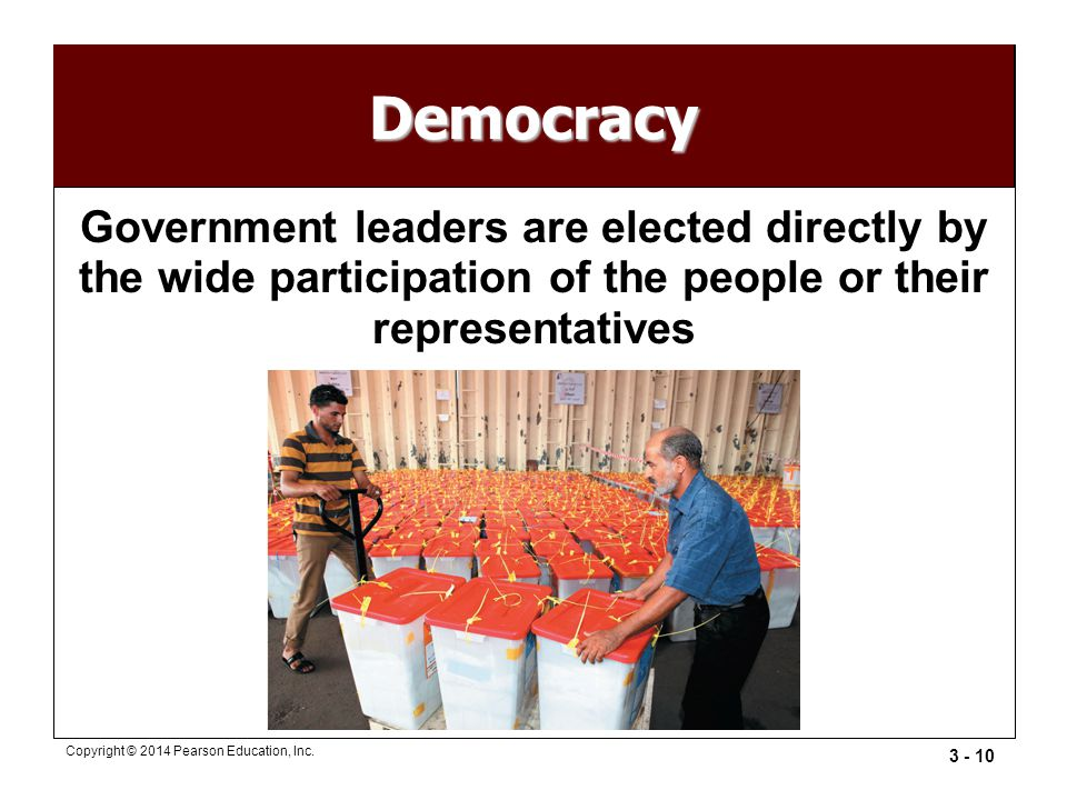 Democracy Government leaders are elected directly by the wide participation of the people or their representatives.