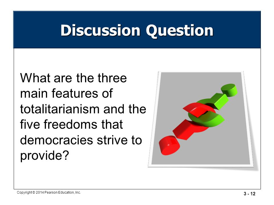 Discussion Question What are the three main features of totalitarianism and the five freedoms that democracies strive to provide
