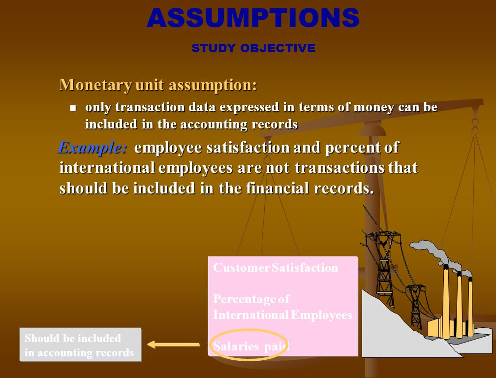 ASSUMPTIONS Monetary unit assumption: