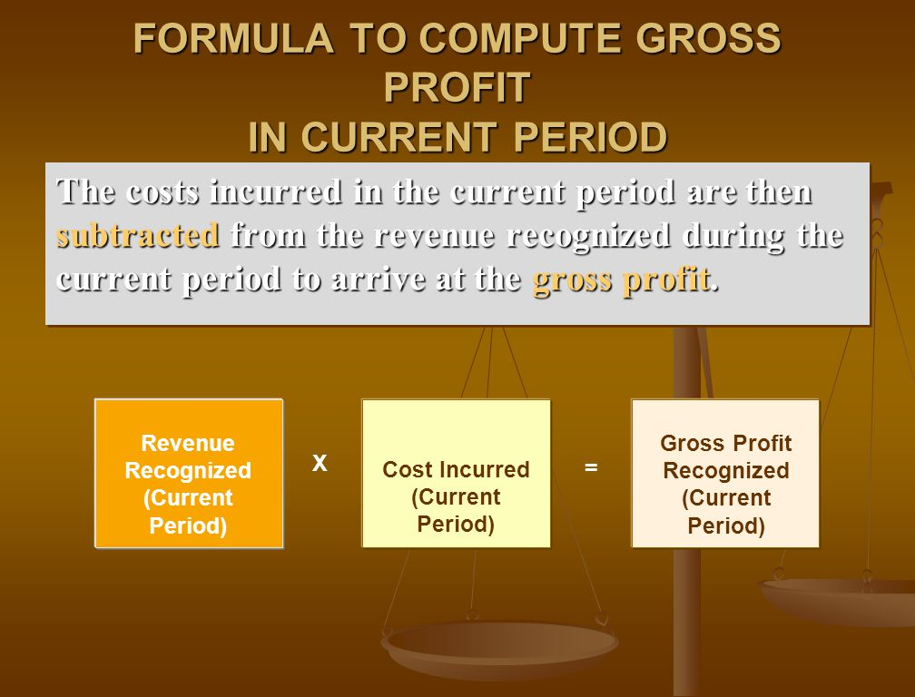FORMULA TO COMPUTE GROSS PROFIT IN CURRENT PERIOD