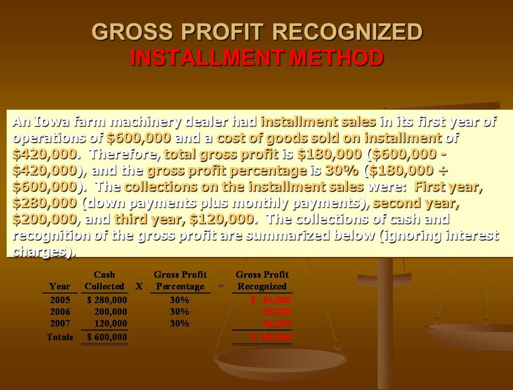 GROSS PROFIT RECOGNIZED INSTALLMENT METHOD