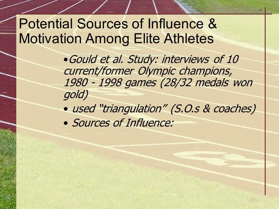 Potential Sources of Influence & Motivation Among Elite Athletes