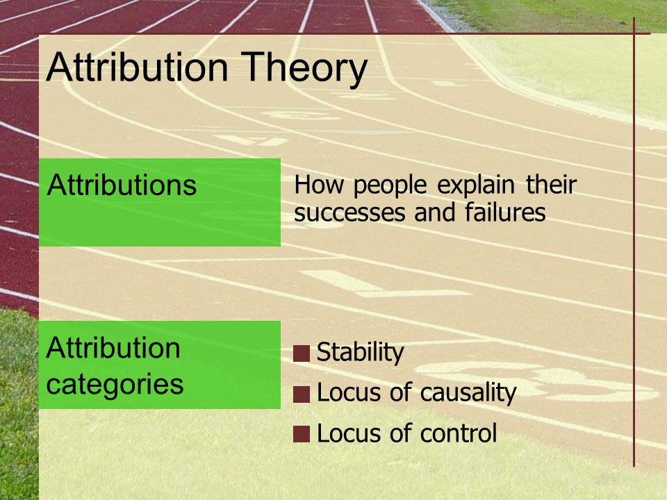 Attribution Theory Attributions Attribution categories