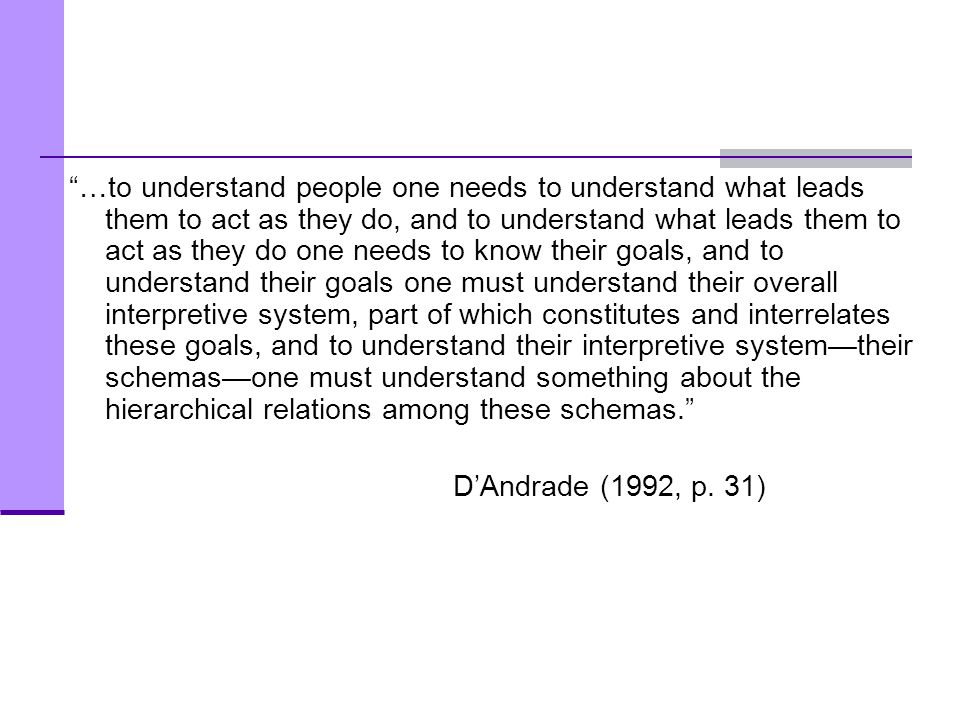 …to understand people one needs to understand what leads them to act as they do, and to understand what leads them to act as they do one needs to know their goals, and to understand their goals one must understand their overall interpretive system, part of which constitutes and interrelates these goals, and to understand their interpretive system—their schemas—one must understand something about the hierarchical relations among these schemas.
