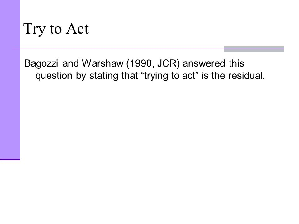 Try to Act Bagozzi and Warshaw (1990, JCR) answered this question by stating that trying to act is the residual.