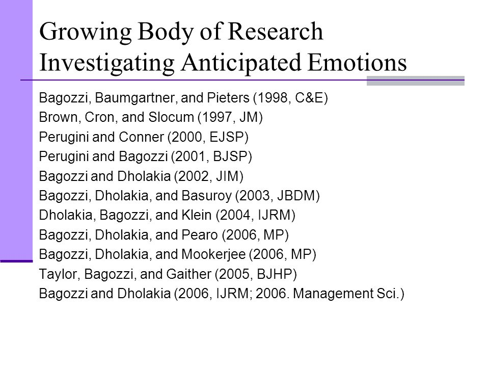 Growing Body of Research Investigating Anticipated Emotions