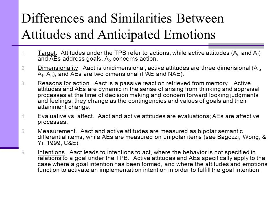 Differences and Similarities Between Attitudes and Anticipated Emotions