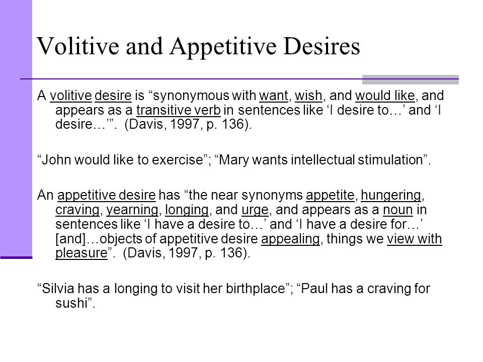 Volitive and Appetitive Desires