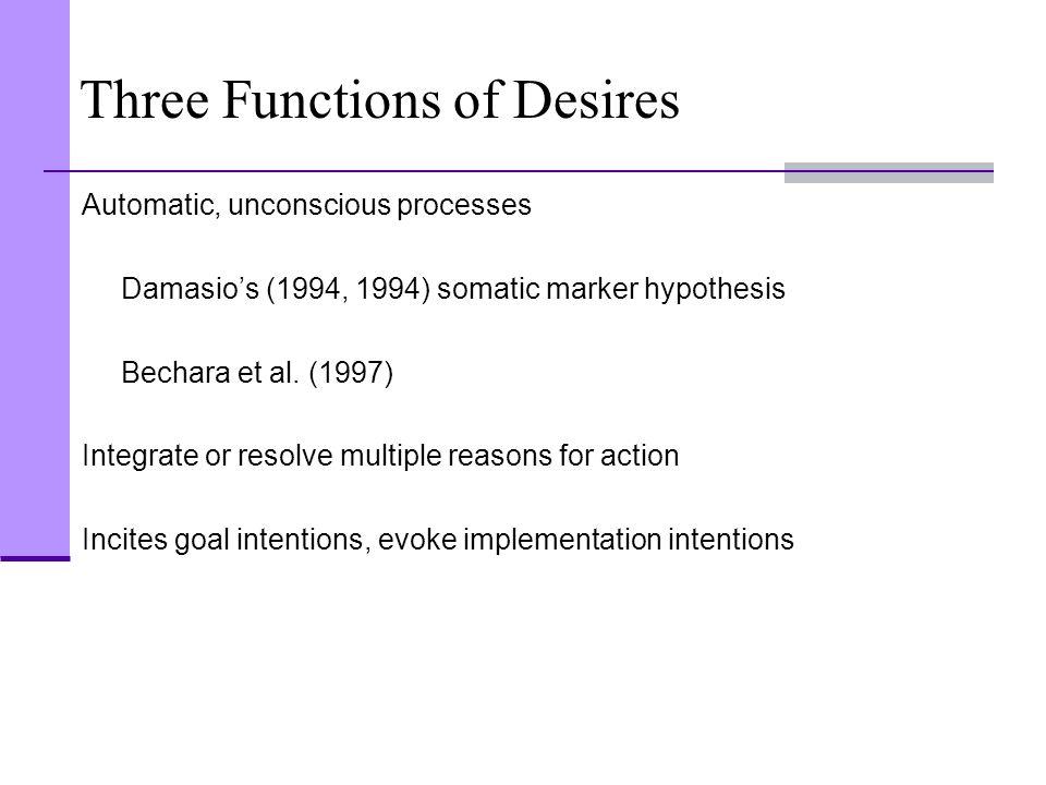 Three Functions of Desires