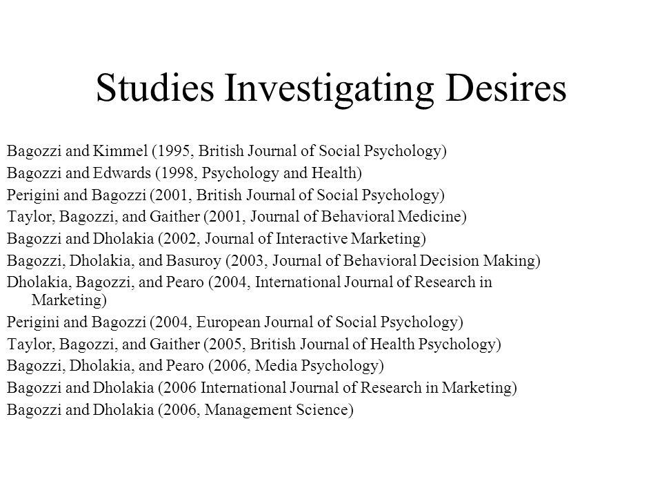 Studies Investigating Desires